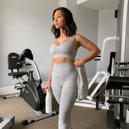 Active Seamless Ribbed Knit Sports Bra in Heather Grey Large   Forever 21 (US)