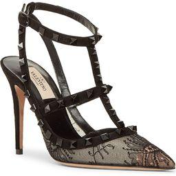 Valentino Garavani Rockstud Lace T-Strap Pointed Toe Pump (Women) | Nordstrom | Nordstrom