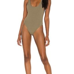MIKOH Yumi One Piece in Ribbed Khaki from Revolve.com   Revolve Clothing (Global)