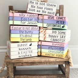 Easter mini wood book stack tiered tray decor farmhouse   Etsy   Etsy (US)