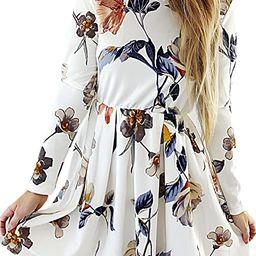 Angashion Womens Dresses Casual Floral Print Long Sleeve Swing Pleated Skater A Line Mini Dress | Amazon (US)
