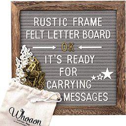 Rustic Wood Frame Gray Felt Letter Board 10x10 inch. Precut White & Gold Letters, Script Cursive ...   Amazon (US)