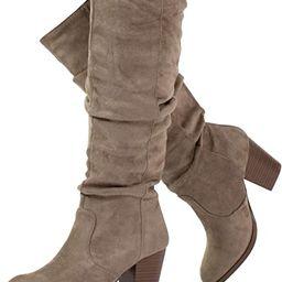 RF ROOM OF FASHION Women's Stacked Heel Slouchy Knee High Boots (Slim Calf) | Amazon (US)