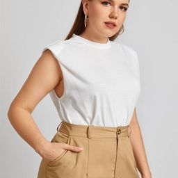 Plus Solid Tank Top With Shoulder Pad   SHEIN
