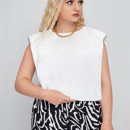 SHEIN Plus Shoulder Pad Sleeveless Top   SHEIN
