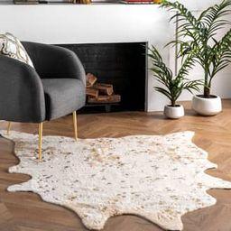 Rugs USA Off White Vaquero Macchiato Faux Cowhide rug - Animal Prints Shaped 4' x 5' | Rugs USA