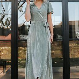 Andi Dusty Sage Ribbed Velvet Wrap Dress   Baltic Born