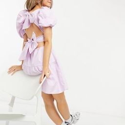 Bardot double bow back puff sleeve mini dress in textured lilac | ASOS (Global)