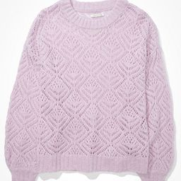 AE Pointelle Crew Neck Sweater Women's Lively Lilac XS   American Eagle Outfitters (US & CA)