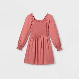 Girls' Square Neck Long Sleeve Smocked Dress - art class™ | Target
