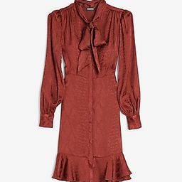 Jacquard Snakeskin Tie Neck Shirt Dress | Express