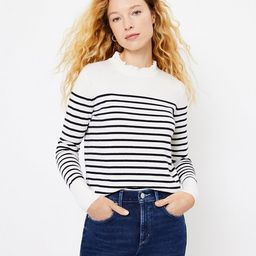 Striped Ruffle Neck Sweater   LOFT