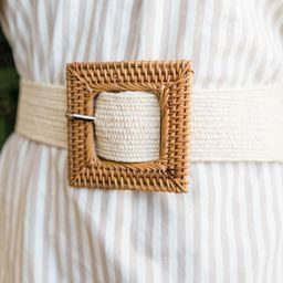 CAITLIN COVINGTON X PINK LILY The Winnie Square Buckle Rattan Beige Belt | The Pink Lily Boutique