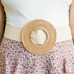 CAITLIN COVINGTON X PINK LILY The Kennedy Circle Buckle Rattan Tan Belt | The Pink Lily Boutique