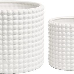 Set of 2 White Ceramic Vintage-Style Hobnail Textured Flower Planter Pots/Storage Jars | Amazon (US)