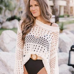 CAITLIN COVINGTON X PINK LILY The Ocean Isle Open Knit Cream Sweater | The Pink Lily Boutique