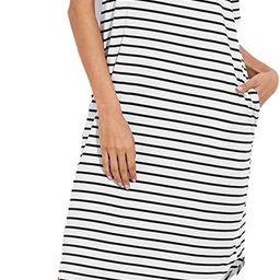 Floerns Women's Short Sleeve Drop Shoulder Pocket Stripe T Shirt Dress   Amazon (US)