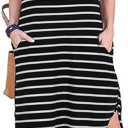 Nemidor Women's Casual Loose Pocket Long Dress Short Sleeve Plus Size Slit Maxi Dress   Amazon (US)
