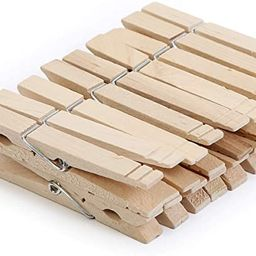 Smart Design 4-Coil Heavy Duty Wooden Clothespins - Non Staining Hardwood Peg Pins - Close Wire S... | Amazon (US)