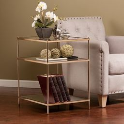 Silver Orchid Grant Glass/Mirror End Table | Overstock