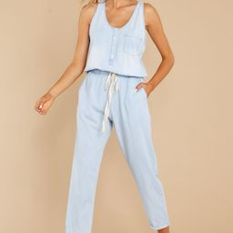 Play It Back Light Wash Chambray Jumpsuit | Red Dress