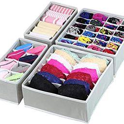 Simple Houseware Closet Underwear Organizer Drawer Divider 4 Set, Gray   Amazon (US)