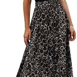 Bluetime Women Leopard Print Long Skirts Chiffon Summer Beach Pleated Elastic High Waisted Maxi S... | Amazon (US)