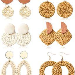 YADOCA 6 Pairs Rattan Drop Dangle Earrings Straws Boho Handmade Woven Earrings for Women Geometri... | Amazon (US)