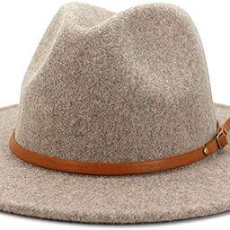 Lisianthus Women Belt Buckle Wool Wide Brim Fedora Hat | Amazon (US)