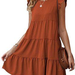 KIRUNDO 2021 Women's Summer Mini Dress Sleeveless Ruffle Sleeve Round Neck Solid Color Loose Fi... | Amazon (US)
