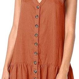 Chuanqi Womens Polka Dot V Neck Button Down Ruffles Casual Loose Swing Short Mini T-Shirt Dress | Amazon (US)