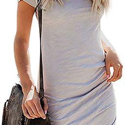 Women's 2021 Summer Casual Crew Neck Ruched Stretchy Tulip Hem Bodycon Short Mini Dress T Shirt... | Amazon (US)