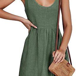 CNJFJ Womens Summer Shoulder Tie Strap Babydoll Dress Casual Scoop Neck A-Line Skater Swing Mini ... | Amazon (US)