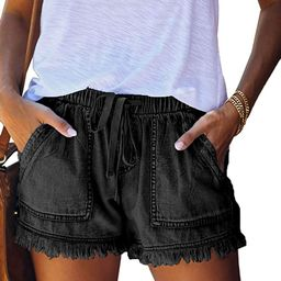 Elapsy Womens Casual Drawstring Elastic Waist Summer Shorts with Pockets S-2XL | Amazon (US)