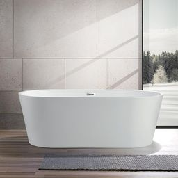 Bordeaux 59 in. Acrylic Flatbottom Freestanding Bathtub in White   The Home Depot