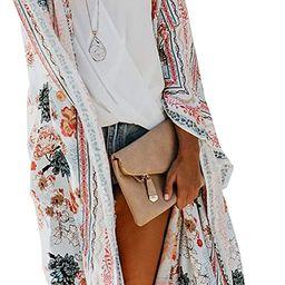 Women's Summer Long Flowy Kimono Cardigans Boho Chiffon Floral Beach Cover Up Tops   Amazon (US)
