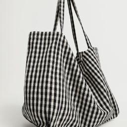 Gingham-check fabric shopper bag | MANGO (US)
