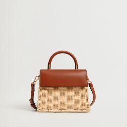 Lapelled rattan bag | MANGO (US)