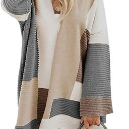 Womens Color Block Cardigan Open Front Sweaters Loose Knit Casual Coat | Amazon (US)