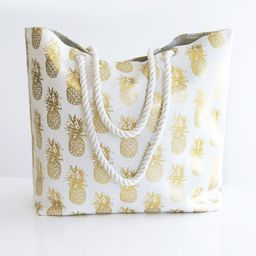 A Sweet Getaway Pineapple Tote Gold   The Pink Lily Boutique
