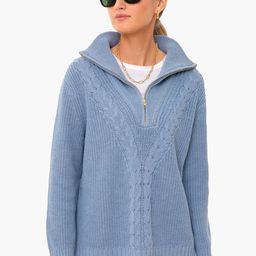 Slate Blue Quarter Zip Estella Sweater   Tuckernuck (US)