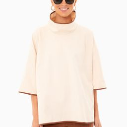 Ivory Pearl Leather Trim Funnel Neck Piper Poncho   Tuckernuck (US)