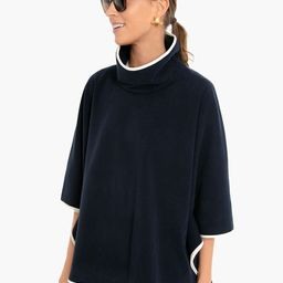 Navy Leather Trim Funnel Neck Piper Poncho   Tuckernuck (US)