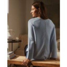 Button-Back Textured Stitch Sweater | The White Company (US & CA)