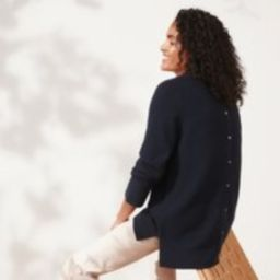 Button-Back Textured Stitch Jumper , Navy, 6 | The White Company (UK)