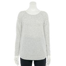 Petite Croft & Barrow Side-Button Cable Crewneck Sweater, Women's, Size: XL Petite, Light Grey | Kohl's