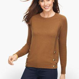 Side Button Crewneck Sweater - Chestnut - Small Talbots | Talbots