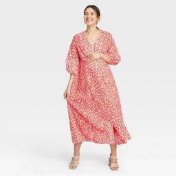 The Nines by HATCH™ Floral Print 3/4 Sleeve Button-Front Poplin Maternity Dress Red | Target
