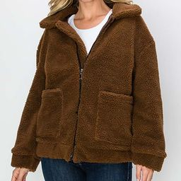Kimberly C Women's Non-Denim Casual Jackets Brown - Brown Zip-Up Teddy Coat - Women | Zulily