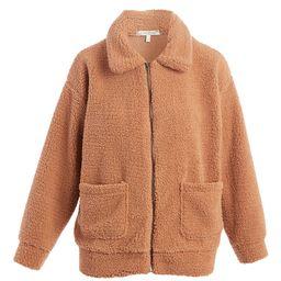 Tru Self Women's Non-Denim Casual Jackets MACAROON - Macaroon Fuzzy Woobie Collared Zip-Up Teddy Bea | Zulily